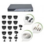 Set of 11 NIGHT Vision CCTV Dome Cameras + 5 CCTV Bullet Cameras and 16 Ch DVR With All Required Connectors