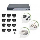 Set of 11 NIGHT Vision CCTV Dome Cameras + 1 CCTV Bullet Cameras and 16 Ch DVR With All Required Connectors