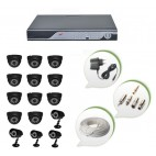 Set of 11 NIGHT Vision CCTV Dome Cameras + 4 CCTV Bullet Cameras and 16 Ch DVR With All Required Connectors