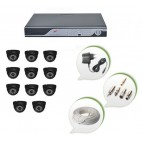 Set of 11 NIGHT Vision CCTV Dome Cameras and 16 Ch DVR With All Required Connectors