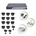 Set of 11 NIGHT Vision CCTV Dome Cameras + 3 CCTV Bullet Cameras and 16 Ch DVR With All Required Connectors
