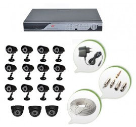 Set of 12 CCTV Bullet Cameras + 3 NIGHT Vision CCTV Dome Cameras and 16 Ch DVR With All Required Connectors