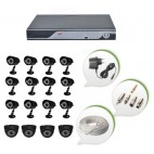 Set of 12 CCTV Bullet Cameras + 4 NIGHT Vision CCTV Dome Cameras and 16 Ch DVR With All Required Connectors