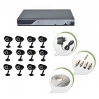 Set of 12 CCTV Bullet Cameras and 16 Ch DVR With All Required Connectors
