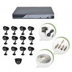 Set of 12 CCTV Bullet Cameras + 1 NIGHT Vision CCTV Dome Camera and 16 Ch DVR With All Required Connectors