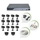 Set of 12 CCTV Bullet Cameras + 2 NIGHT Vision CCTV Dome Cameras and 16 Ch DVR With All Required Connectors