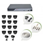Set of 12 NIGHT Vision CCTV Dome Cameras + 2 CCTV Bullet Cameras and 16 Ch DVR With All Required Connectors