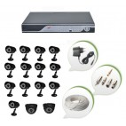 Set of 13 CCTV Bullet Cameras + 2 NIGHT Vision CCTV Dome Cameras and 16 Ch DVR With All Required Connectors