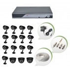 Set of 13 CCTV Bullet Cameras + 3 NIGHT Vision CCTV Dome Cameras and 16 Ch DVR With All Required Connectors