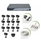 Set of 13 CCTV Bullet Cameras + 1 NIGHT Vision CCTV Dome Camera and 16 Ch DVR With All Required Connectors