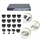 Set of 13 NIGHT Vision CCTV Dome Cameras + 3 CCTV Bullet Cameras and 16 Ch DVR With All Required Connectors