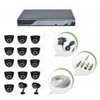 Set of 13 NIGHT Vision CCTV Dome Cameras + 2 CCTV Bullet Cameras and 16 Ch DVR With All Required Connectors
