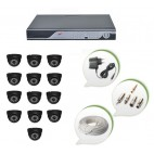Set of 13 NIGHT Vision CCTV Dome Cameras and 16 Ch DVR With All Required Connectors