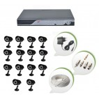 Set of 14 CCTV Bullet Cameras and 16 Ch DVR With All Required Connectors