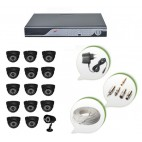 Set of 14 NIGHT Vision CCTV Dome Cameras + 1 CCTV Bullet Camera and 16 Ch DVR With All Required Connectors