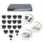Set of 14 NIGHT Vision CCTV Dome Cameras + 2 CCTV Bullet Cameras and 16 Ch DVR With All Required Connectors