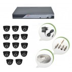 Set of 14 NIGHT Vision CCTV Dome Cameras and 16 Ch DVR With All Required Connectors