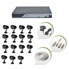 Set of 15 CCTV Bullet Cameras and 16 Ch DVR With All Required Connectors