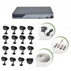 Set of 15 CCTV Bullet Cameras + 1 NIGHT Vision CCTV Dome Camera and 16 Ch DVR With All Required Connectors