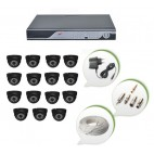 Set of 15 NIGHT Vision CCTV Dome Cameras and 16 Ch DVR With All Required Connectors