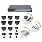 Set of 8 NIGHT Vision CCTV Dome Cameras + 4 CCTV Bullet Cameras and 16 Ch DVR With All Required Connectors