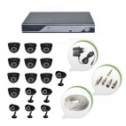 Set of 10 NIGHT Vision CCTV Dome Cameras + 6 CCTV Bullet Cameras and 16 Ch DVR With All Required Connectors
