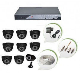 Set of 8 NIGHT Vision CCTV Dome Camera + 1 CCTV Bullet Camera and 16 Ch DVR With All Required Connectors