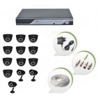 Set of 10 NIGHT Vision CCTV Dome Cameras + 3 CCTV Bullet Cameras and 16 Ch DVR With All Required Connectors