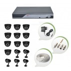 Set of 10 NIGHT Vision CCTV Dome Cameras + 5 CCTV Bullet Cameras and 16 Ch DVR With All Required Connectors