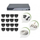 Set of 16 NIGHT Vision CCTV Dome Cameras and 16 Ch DVR With All Required Connectors
