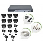Set of 8 NIGHT Vision CCTV Dome Cameras + 6 CCTV Bullet Cameras and 16 Ch DVR With All Required Connectors
