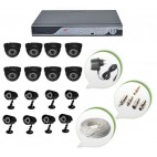 Set of 8 NIGHT Vision CCTV Dome Cameras + 8 CCTV Bullet Cameras and 16 Ch DVR With All Required Connectors