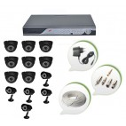 Set of 8 NIGHT Vision CCTV Dome Cameras + 5 CCTV Bullet Cameras and 16 Ch DVR With All Required Connectors