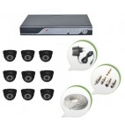 Set of 9 NIGHT Vision CCTV Dome Cameras and 16 Ch DVR With All Required Connectors