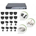 Set of 9 NIGHT Vision CCTV Dome Cameras + 7 CCTV Bullet Cameras and 16 Ch DVR With All Required Connectors