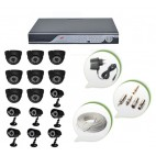 Set of 8 NIGHT Vision CCTV Dome Cameras + 7 CCTV Bullet Cameras and 16 Ch DVR With All Required Connectors