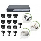 Set of 9 NIGHT Vision CCTV Dome Cameras + 4 CCTV Bullet Cameras and 16 Ch DVR With All Required Connectors