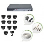 Set of 10 NIGHT Vision CCTV Dome Cameras + 1 CCTV Bullet Camera and 16 Ch DVR With All Required Connectors