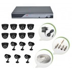 Set of 9 NIGHT Vision CCTV Dome Cameras + 6 CCTV Bullet Cameras and 16 Ch DVR With All Required Connectors