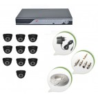 Set of 10 NIGHT Vision CCTV Dome Cameras and 16 Ch DVR With All Required Connectors