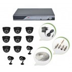 Set of 8 NIGHT Vision CCTV Dome Cameras + 3 CCTV Bullet Cameras and 16 Ch DVR With All Required Connectors
