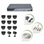 Set of 10 NIGHT Vision CCTV Dome Cameras + 2 CCTV Bullet Cameras and 16 Ch DVR With All Required Connectors