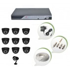 Set of 9 NIGHT Vision CCTV Dome Cameras + 1 CCTV Bullet Camera and 16 Ch DVR With All Required Connectors