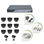 Set of 9 NIGHT Vision CCTV Dome Cameras + 2 CCTV Bullet Cameras and 16 Ch DVR With All Required Connectors