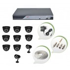 Set of 8 NIGHT Vision CCTV Dome Cameras + 2 CCTV Bullet Cameras and 16 Ch DVR With All Required Connectors