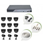 Set of 9 NIGHT Vision CCTV Dome Cameras + 3 CCTV Bullet Cameras and 16 Ch DVR With All Required Connectors