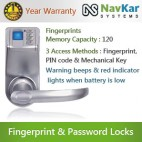 Biometric Door Digital Lock based on Fingerprint + Password + Mechanical Key Model - NS-3398