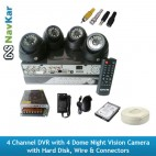 4 Channel DVR & 4 Night Vision Dome Camera with Hard Disk, Wire & Connectors