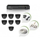 Set of 7 NIGHT Vision CCTV Dome Cameras and 8 Ch DVR With All Required Connectors