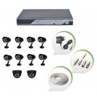 Set of 8 CCTV Bullet Cameras + 2 NIGHT Vision CCTV Dome Cameras and 16 Ch DVR With All Required Connectors